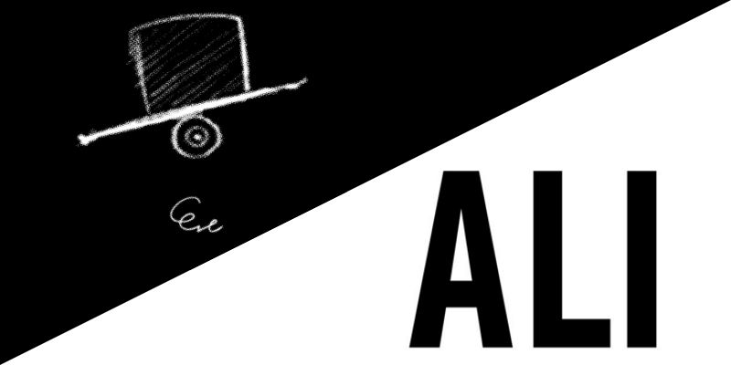 "Eve's digital illustration of a tilted hat/ALI album cover, black text on white background ""ALI"""