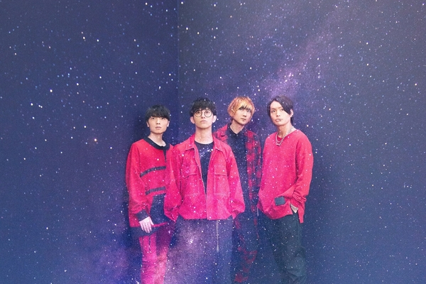 BLUE ENCOUNT, dark sky-like background, red/black clothes, looking up high