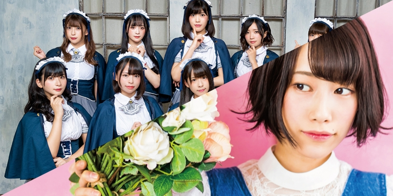 Afilia saga members, nun-like clothing/Sasaki Riko, bouquet of roses, pink background