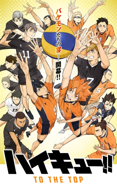 Kageyama-Hinata at center, other players from Karasuno & other teams around them