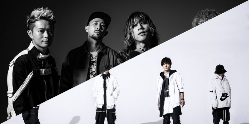 SUPER BEAVER, 4 members, grayscale/SPYAIR, 4 members, white background, black-white clothing