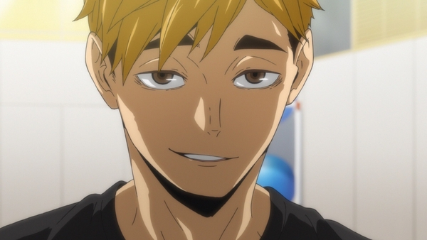 Atsumu Miya, second year setter, looking towards us with a smug expression on his face.