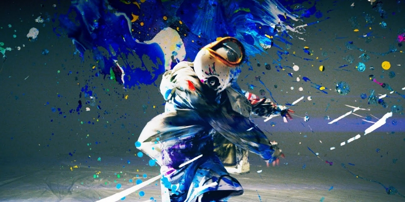 "KamiBoku, ""Namae no Nai Ao"" music video screenshot, masked person, liquid blue dye"