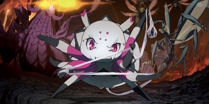 protagonist, spider, fighting monsters in cave, purple dragon breathing fire in background