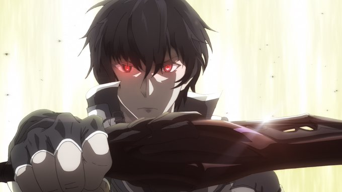 protagonist, demon lord, sword, red eyes, angry-determined look, white background