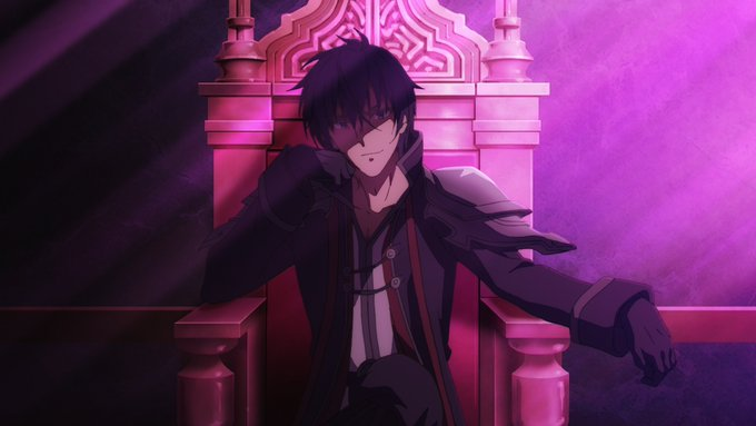 demon lord, sitting on throne, smug look, head resting on right hand, dark colours