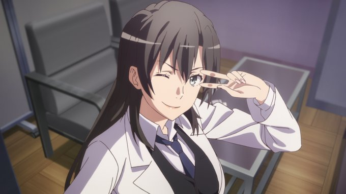 Hiratsuka, office, winks, doing the victory sign, smiles, wears white lab coat