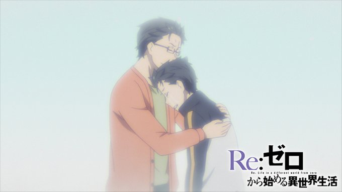Subaru-father, father hugging-comforting his son, light blue background