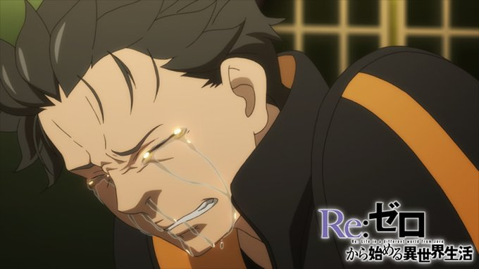 Subaru, wears usual tracksuit, crying, grinding teeth, covered in tears and snot