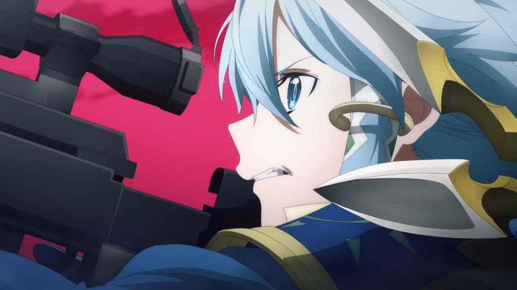 Sinon looks through rifle's scope, clenching teeth, angry, red sky is background
