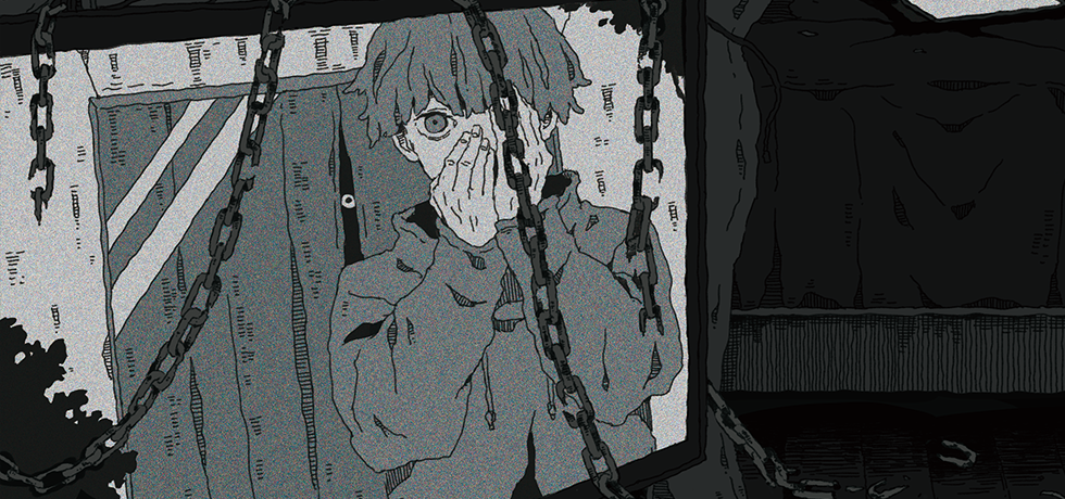 Sou's profile picture, drawn, grayscale, covers mouth with both hands